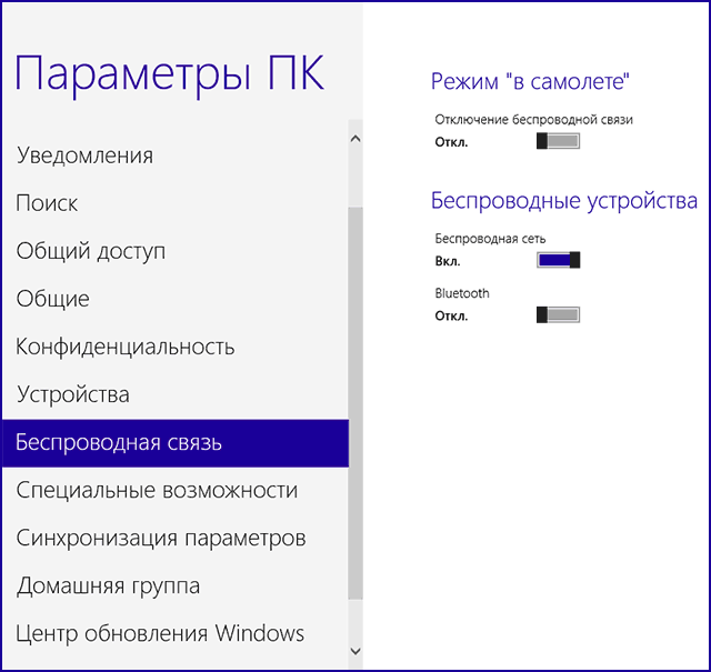 Включить Wi-Fi в Windows 8