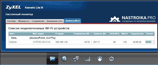 Список подключеных к Wi-Fi на Zyxel Keenetic